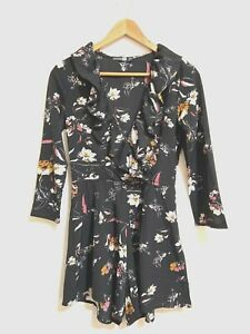Boohoo Playsuit Size 8 Tall Black Moody Floral Pink Ruffle V-Neck Romper NEW