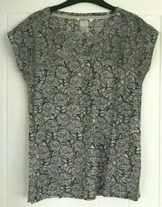 New ex White Stuff UK size 14 Ladies  Pink Grey Part Jersey Floral Blouse Top