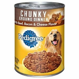 Pedigree Meaty Ground Dinner Chunky Beef Bacon Cheese Dog Food 13.2 oz (24-Cans)