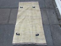 Old Traditional Hand Made Persian Oriental  Wool Cream Gabbeh Rug 130x75cm