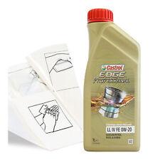 Engine Oil Top Up 1 LITRE Castrol Edge Professional LL I 1L +Gloves,Wipes,Funnel