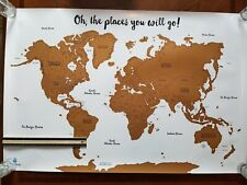 "Travelbug Scratch Off World Map 36"" X 24"" Unused Scratch them all! glossy"