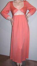 VTG 70s MAXI-PEASANT DRESS Sz S Peach-Coral Poly-Crepe LS V-Neck White-Lace Trim