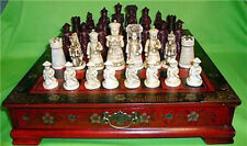 32 pieces chess set & Leather Wood Box Flower Bird Table a811