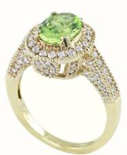 14K Gold 1.00ct TW Diamond and Genuine 9x7 Oval Peridot Designer Ring size 7