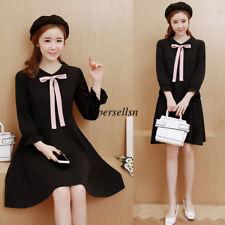 Autumn Korean Women Bowknot Casual Loose Slim A Line Short Tunic Dress Plus Size
