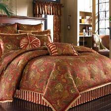 J Queen PADDINGTON Queen comforter bedskirt & 4 Shams Red Gold Brown 6pcs NEW 1Q