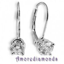 1.06 ct natural round diamond DE SI2 leverback solitaire earrings 18k white gold