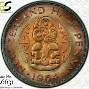 1964 NEW ZEALAND HALF PENNY BU PCGS MS64 RB CIRCLE TONED ONLY 8 GRADED HIGHER