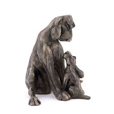 More details for frith sculptures amber with pup two dog figurine cold cast bronze ornament hd048