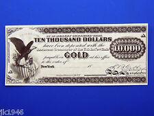 Reprodu $10,000 1863 Gold Certificate Uni-Face Note US Paper Money Currency Copy
