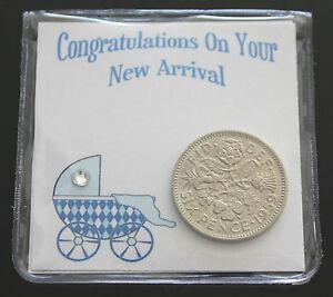 LUCKY SIXPENCE COIN KEEPSAKE BABY BIRTH CONGRATULATIONS  NEW BABY - BABY BOY