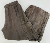 Flax Womens Small Linen Cropped Pants Culottes Brown Elastic Waist Lagenlook