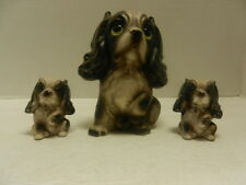 Vintage Cocker Spaniel Mother Dog & Puppies Ceramic Figurines