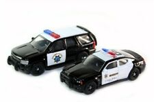2 PCS SET 2010 CHEVY TAHOE CHP & 2010 DODGE CHARGER SHERIFF CAR DIE CAST 1/64