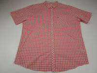 Lacoste Button Up Dress Shirt Adult 2XL XXL 45 Pink Check Crocodile Casual Mens