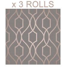 Copper Charcoal Wallpaper Metallic Shiny Apex 3D Modern Fine Decor x 3 Rolls