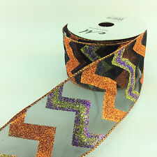 "Melrose Wired Ribbon - Halloween Glitter Chevron on Black 2 1/2"" 10yd"