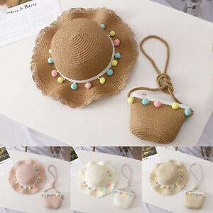 Children Kids Girl Summer Sunscreen Sunshade Hat Straw Beach Sun Hat+Straw Bag