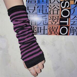 Punk Style Stripe Pattern Half Finger Long Warm Gloves For Women Knitted Fabric