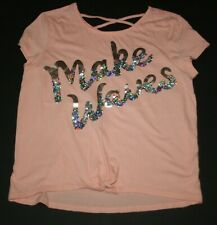 USED Justice 14 16 Plus year Girls Make Waves Flip Sequin Top Tie Front