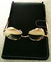 Vintage Rose Gold Polarized Steampunk Sunglasses Fashion Round Mirror Retro NWOT