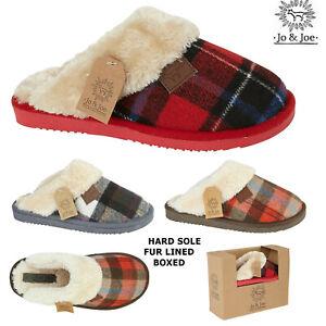 Ladies Slippers Tartan Faux Fur Womens Winter Warm Indoor Slip On Mule Shoes