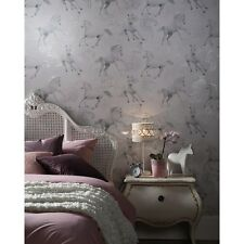 WHITE GREY SILVER GLITTER SPARKLE HORSE HORSES QUALITY ARTHOUSE WALLPAPER 667300