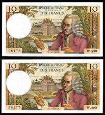 Billet France - 10F Voltaire - 07.06.73 - W 890 - PAIRE NEUFS - Fay : 62.62