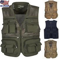 Men Sleeveless Utility Cargo Multi-Pocket Waistcoat Jacket Fishing Hunting Vest