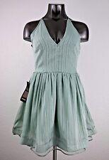 NEW Bebe Eton Blue Lace Back Metallic Stripe Dress Size 4