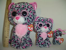 3 pc Lot SET 2015 TY Tasha the loepard beanie Buddy Med & reg Boo & Clip Boos
