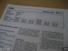 Opel Admiral 2,8 S Bj. 75-77, ZENITH 35/40 INAT Vergaser EINSTELLDATEN