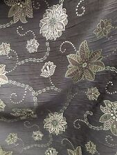 Brown Green Floral Chenille Upholstery Fabric (54 in.) Sold By The Yard