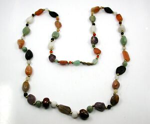Vintage Polished Stone And Brass Beaded Necklace From Petra Jordan