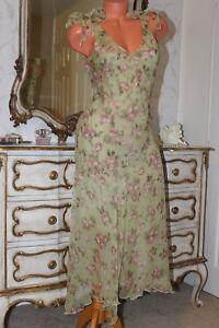 (R11) NOUGAT London 100% Silk Tie Shoulders Bias Cut Floral Pattern Dress Size 3