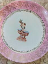 """Vtg Victoria Carlsbad Austria Numbered 12"""" Pink & Gold Porcelain Hanging Plate"""