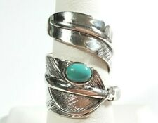 925 STERLING SILVER SOUTHWEST STYLE WIDE FEATHER WRAP TURQUOISE SIZE 7.5 RING