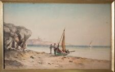 Beautiful Antique French Watercolor of Marseille Coast & City, Boats & Coast!
