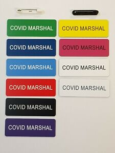 Engraved  Marshal Name Badge 70mm*25mm with Pin Fastener -