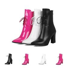 Fashion Pumps Women Ankle Boots Block Heel Pointed Toe Lace Up Casual Punk Shoes