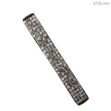 925 Sterling Silver Long Spacer Bar Natural Diamond Pave Finding Jewelry 35x5 mm