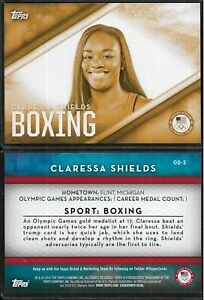 RARE 2016 TOPPS OLYMPICS CLARESSA SHIELDS 5X7 GOLD CARD #OD-2 ~ /10 ~ BOXING UFC