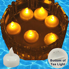 12 pcs Amber Led Tea Light Flameless Floating Candles Wedding Party Romantic