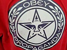 OBEY PROPAGANDA Red Pullover Hoodie Sweatshirt, Size L