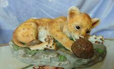 Homco 1985 Masterpiece Porcelain Figurine Lion Cub & Turtle Figure Statue Signed