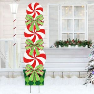 Candy Christmas Holiday Decorations Outdoor Peppermint Xmas Yard Stakes Giant