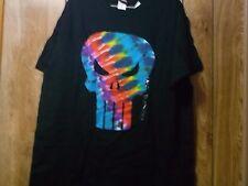 NWT Mens Tye Dye Punisher Emblem on Black Tshirt-Size L - 100% Cotton-Licensed