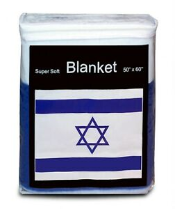 "Israel Flag Fleece Blanket 50x60"" NEW Star of David Travel Throw Cover דגל ישראל"