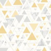 CHANTILLY GEOMETRIC MARBLE TRIANGLE WALLPAPER YELLOW / GREY DEBONA 5014 - NEW